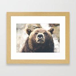 Geometric Bear Framed Art Print