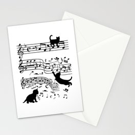 Cat Music Notes Clef Cats Lover Stationery Cards