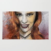 true blood Area & Throw Rugs featuring Oh My Jessica - True Blood by Fresh Doodle - JP Valderrama