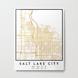 SALT LAKE CITY UTAH CITY STREET MAP ART Metal Print