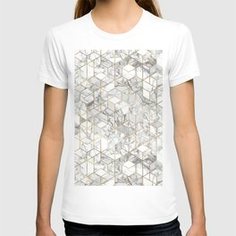 White marble geomeric pattern in gold frame T-shirt