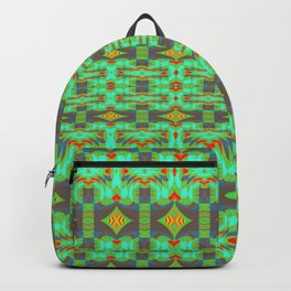 Vintage Psychedelic Kitsch Pattern Green Backpack