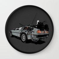 delorean Wall Clocks featuring DeLorean by CranioDsgn