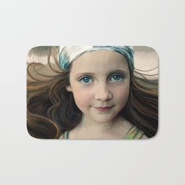 Dancer at Dusk - portrait painting of a young girl Bath Mat