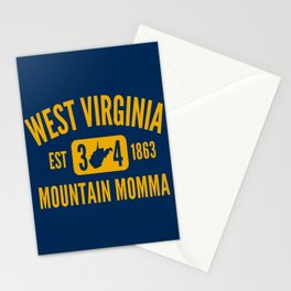 West Virginia Mountain Momma 304 WV State Map Established 1863 Stationery Cards