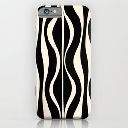 Hourglass Abstract Retro Midcentury Modern Pattern in Black and Almond Cream iPhone Case