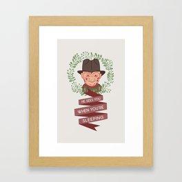 Freddy Krueger Christmas Framed Art Print