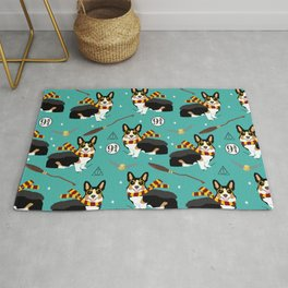 Corgi tricolored witch wizard magic dog breed gifts Rug
