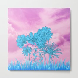 Flowers in grass Metal Print