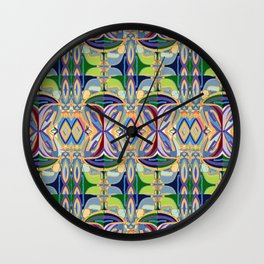 Butterfly mosaic - brightly colored pattern Wall Clock