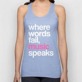 WHERE WORDS FAIL MUSIC SPEAKS (Pink Black) Unisex Tank Top