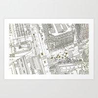 Cabs in new York Art Print