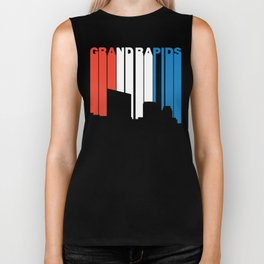 Red White And Blue Grand Rapids Michigan Skyline Biker Tank
