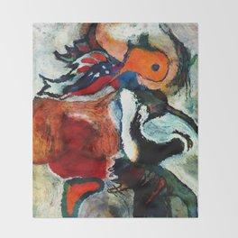 Orange Abstract Art / Surrealist Painting Throw Blanket