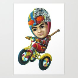 Super Rider ,The boy ride the bicycle on white background Hand painted Acrylic on canvas Art Print