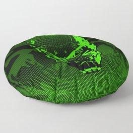 Gamer Skull CARTOON GREEN / 3D render of cyborg head Floor Pillow