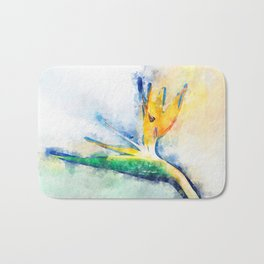 Bird Of Paradise Watercolor Art Bath Mat