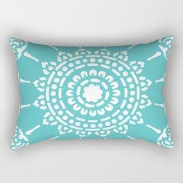 Thai Mandala Turquoise Rectangular Pillow