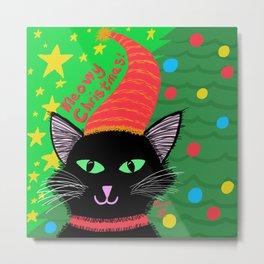 Christmas Cat-Long Black Hair Green Eyes Metal Print