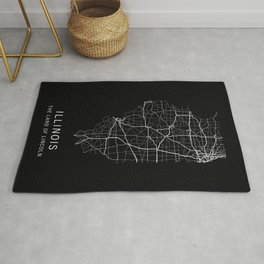 Illinois State Road Map Rug