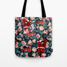 Santa Claus and Floral Pattern Tote Bag