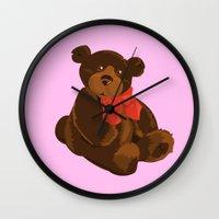 teddy bear Wall Clocks featuring teddy bear by ArtSchool