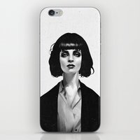 black iPhone & iPod Skins featuring Mrs Mia Wallace by Ruben Ireland