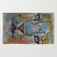 snow leopard Area & Throw Rugs featuring Leopard by Michael Creese