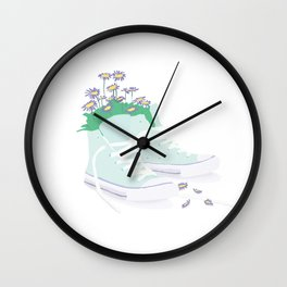 Flowers in Converse 2 Wall Clock
