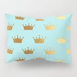 Gold Glitter effect crowns on teal - Royal Pattern for Princesses Pillow Sham