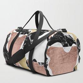 Modern white black marble rose gold foil color block handdrawn geometric lines Duffle Bag