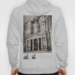 Camels at Petra | Black and White Stunning Stone Monument Hidden Lost City Treasury Carved Cliff Hoody