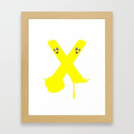 Yellow Stripe Bomb Ball and Stroke Framed Art Print
