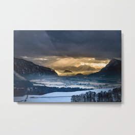 Mountains Covered with ice with dark sky Metal Print