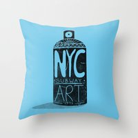 nyc Throw Pillows featuring NYC 1972 by Farnell
