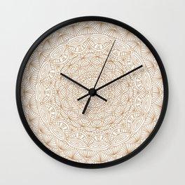 Brown Tan Intricate Detailed Hand Drawn Mandala Ethnic Pattern Design Wall Clock