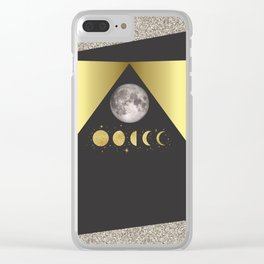 Elegant Abstract Gold Moon Phases Clear iPhone Case
