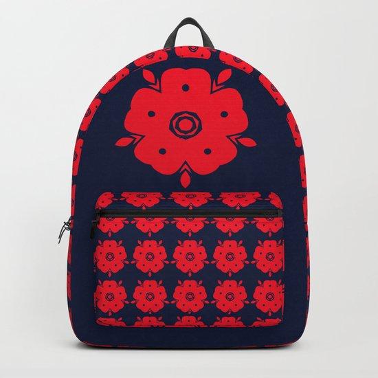 Japanese Samurai flower red pattern Backpack