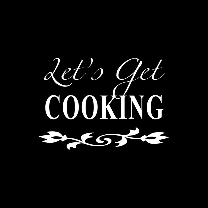 Let's Get Cooking - White on Black Kitchen Art, Apparel and Accessories for Chefs and Cooks Duvet Cover