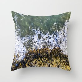 Rocky rugged coastline aerial oceanscape Throw Pillow