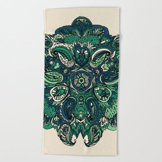 Green Indian Mandala Beach Towel