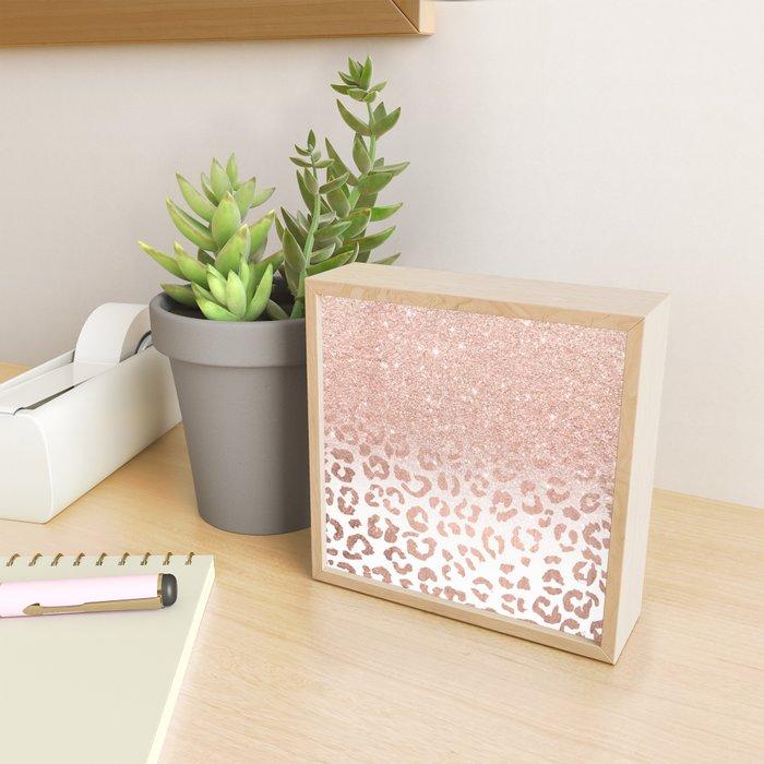 Trendy modern faux rose gold glitter ombre leopard pattern Framed Mini Art Print