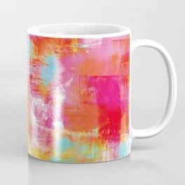 OFF THE GRID 2 Colorful Pink Pastel Neon Abstract Watercolor Acrylic Textural Art Painting Rainbow Coffee Mug