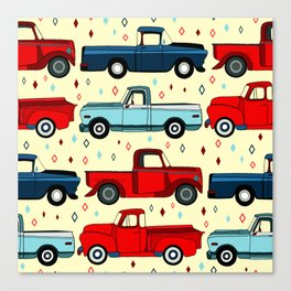 Winter Vintage Trucks Canvas Print