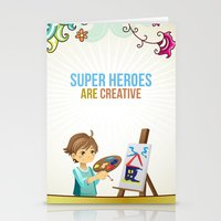 super heroes Stationery Cards featuring Super Heroes Are Creative by youngmindz