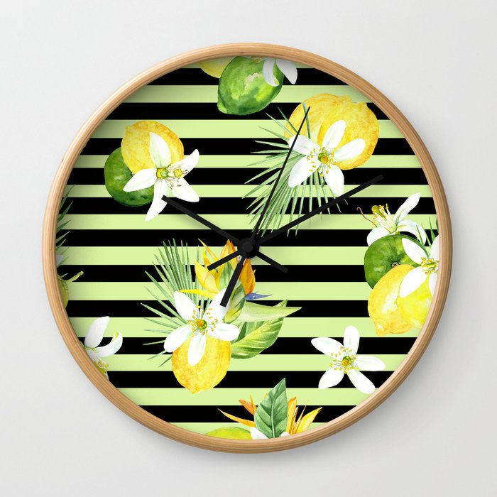 watercolor seamless pattern fresh summer Wall Clock