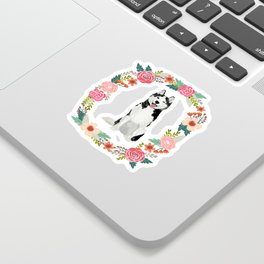husky floral wreath spring dog breed pet portrait gifts Sticker