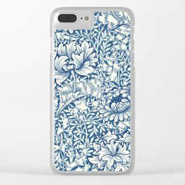 William Morris Navy Blue Botanical Pattern 8 Clear iPhone Case