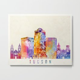Tucson landmarks watercolor poster Metal Print