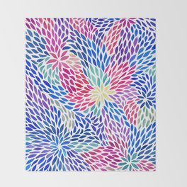 Flowing Leaves Purple & Blue Pattern Throw Blanket